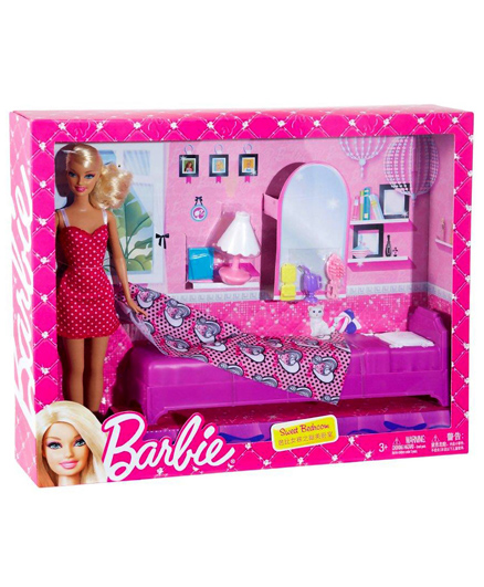 Barbie - Sweet Bedroom Set With Doll Multi Coloured