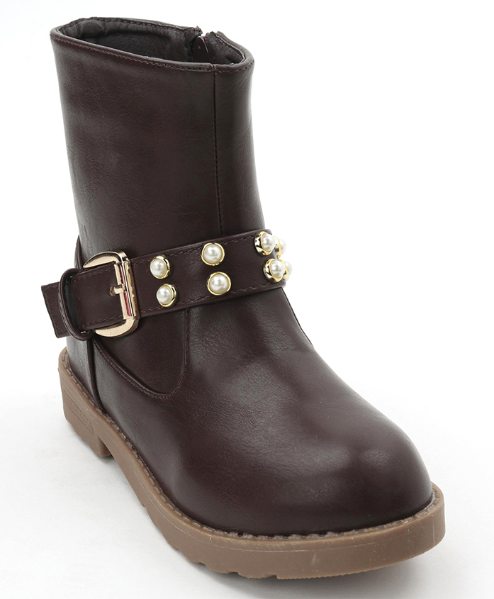 Cute Walk by Babyhug Ankle Length Boots With Buckle - Brown