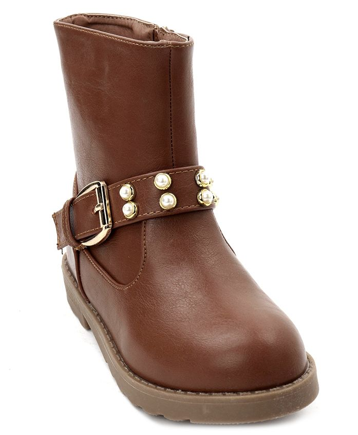 Cute Walk by Babyhug Ankle Length Boots With Buckle - Light Brown