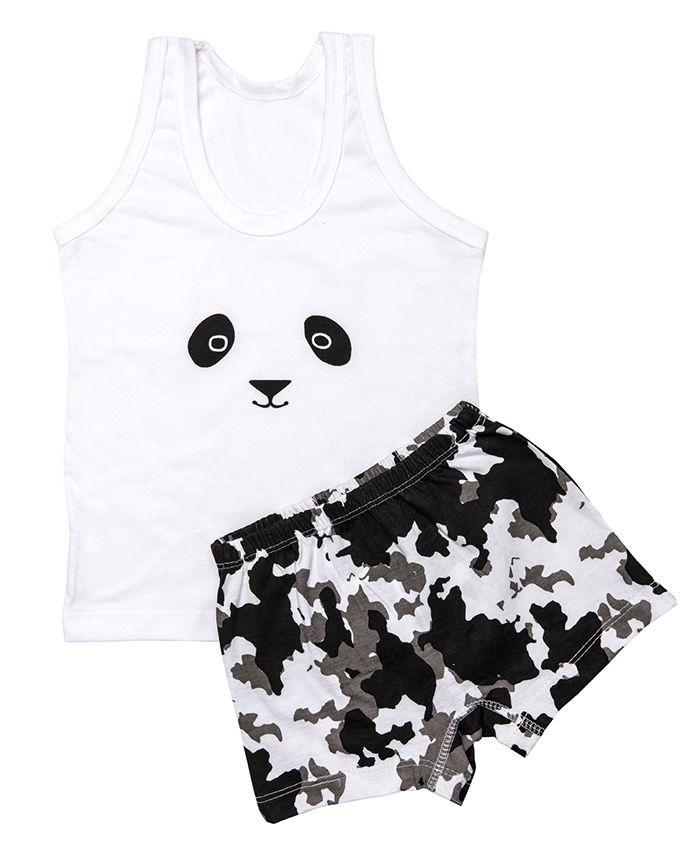 Plan B Slip & Boxer Set Panda Print - Black White