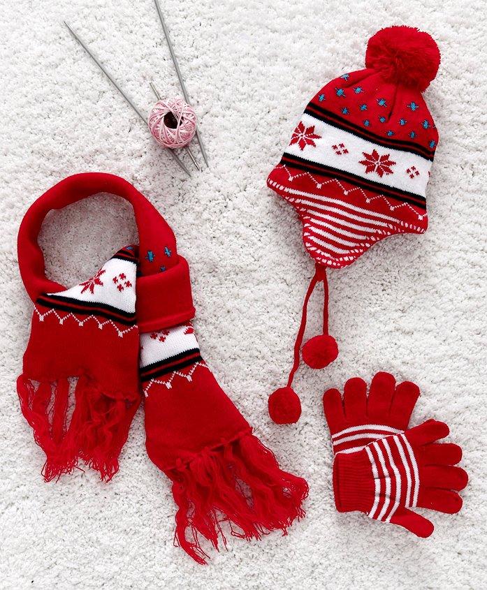 Babyhug Baby Woollen Set - Red
