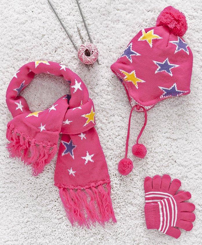 Babyhug Woollen Set Stars Design - Pink