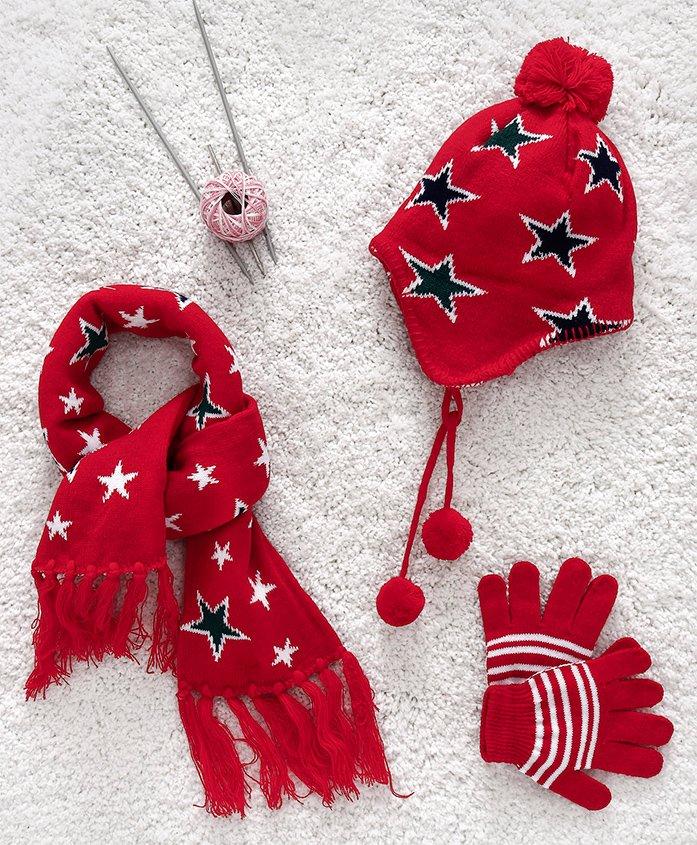 Babyhug Woollen Set Stars Design - Red