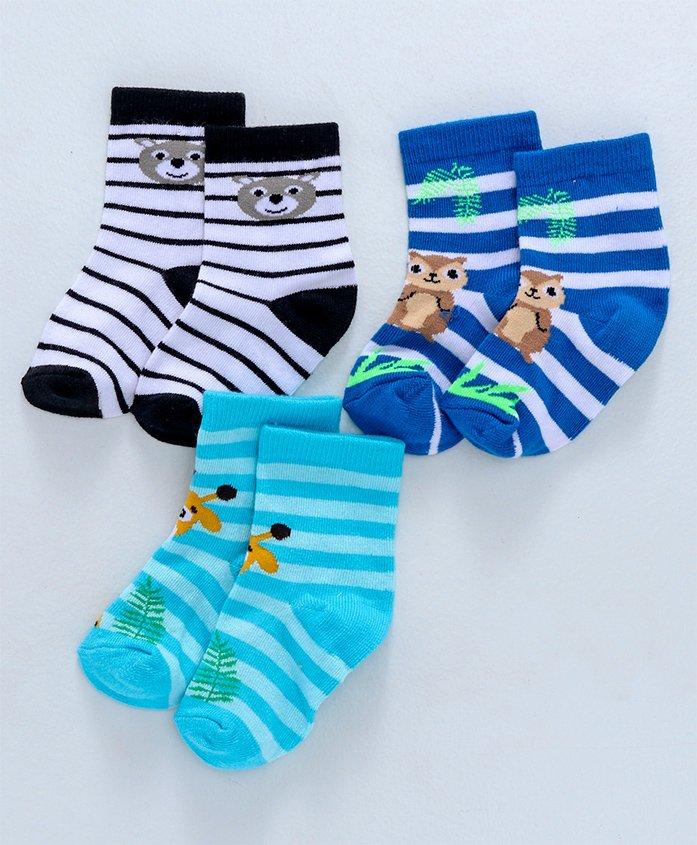 Cute Walk by Babyhug Anti Bacterial Ankle Length Socks Striped Animal Design Pack of 3 - Multicolor