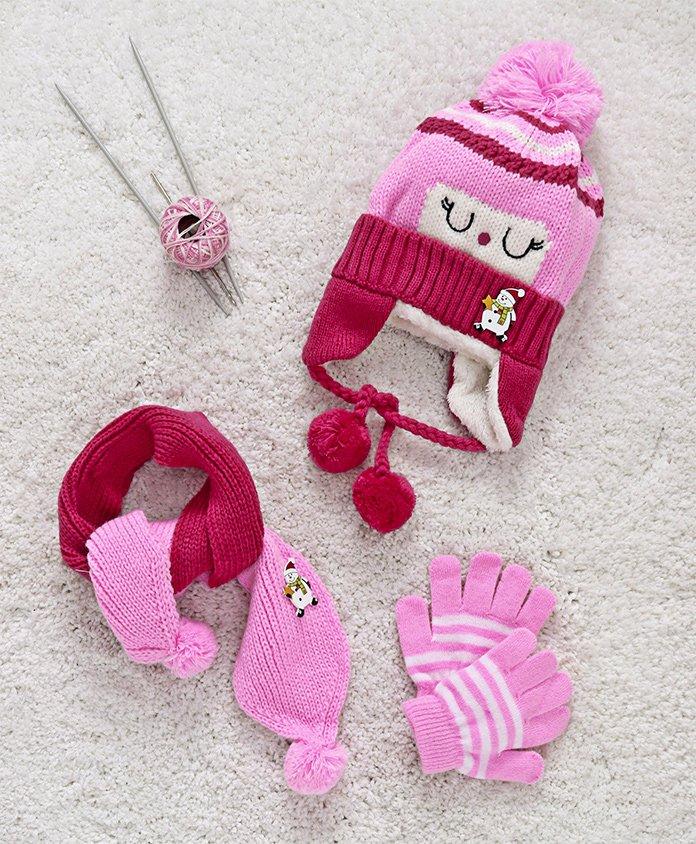 Babyhug Woollen Cap Set Snowman Design - Pink