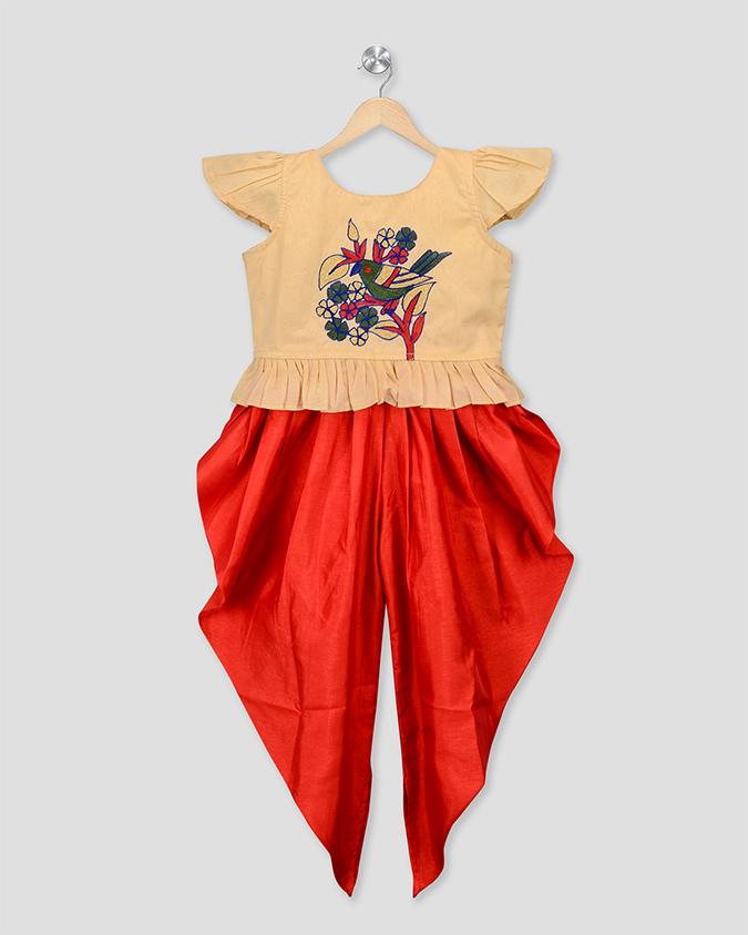 KID1 Embroidered Peplum Top & Dhoti Set - Cream & Red