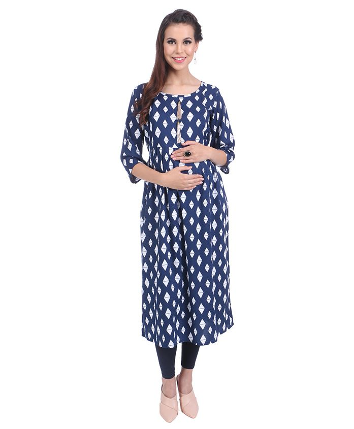 MomToBe Three Fourth Sleeves Maternity Kurti Diamond Print - Blue