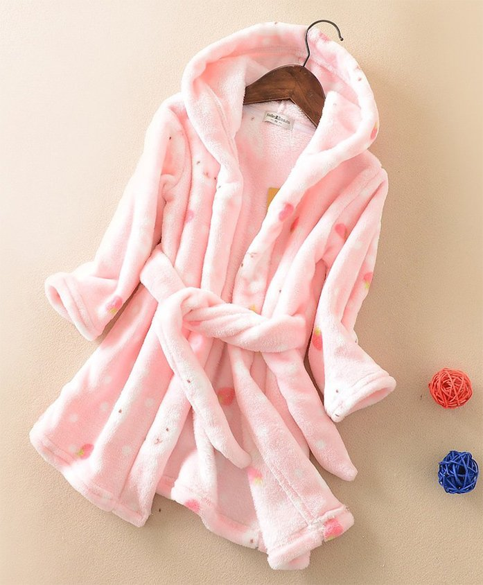 Pre Order - Awabox Full Sleeves Polka Dot Bathrobe - Pink