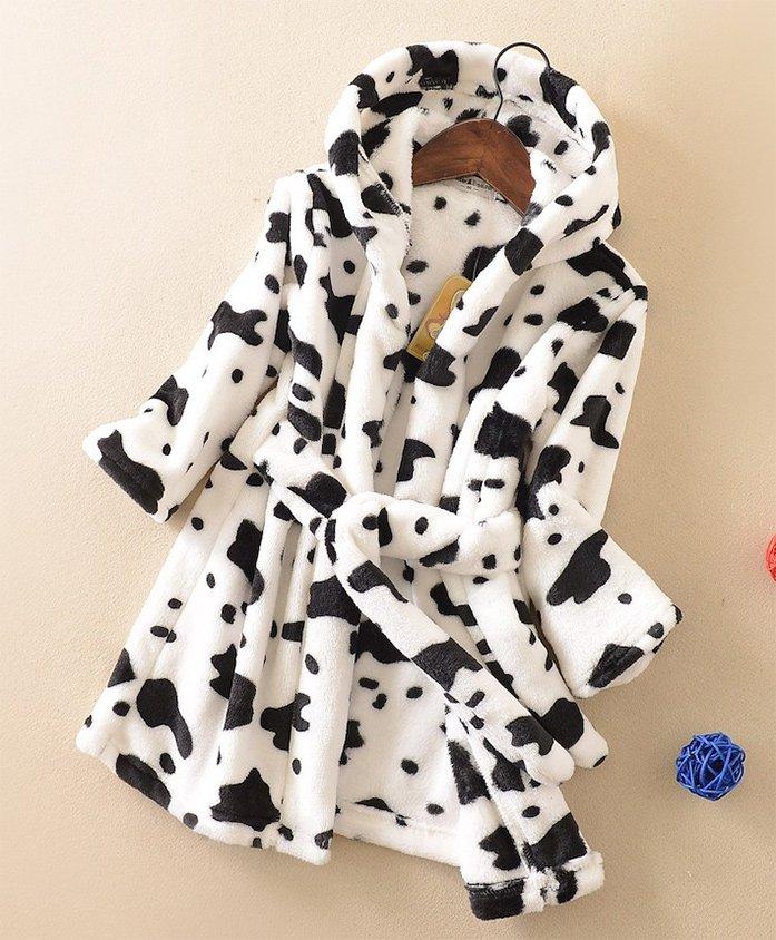 Pre Order - Awabox Full Sleeves Bathrobe Animal Design - White