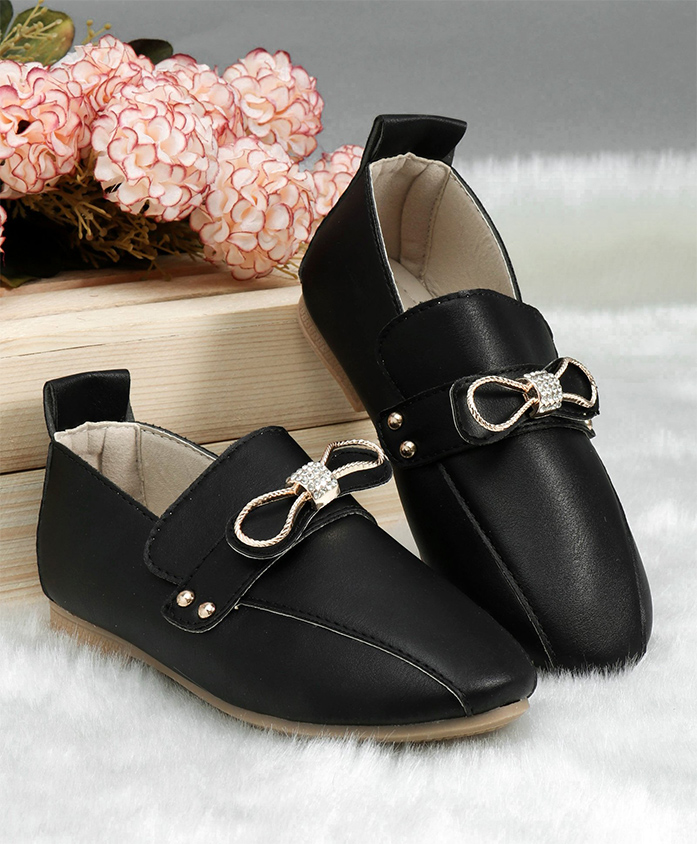 Cute Walk by Babyhug Loafers Bow Embellishment - Black
