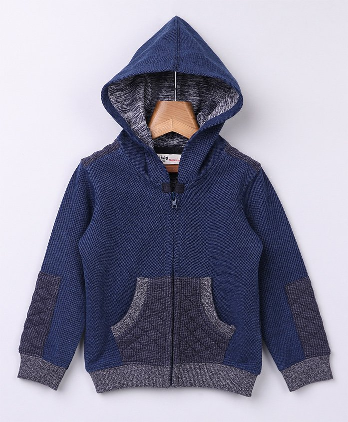Beebay Full Sleeves Hooded Jacket With Pouch Pockets - Navy Blue