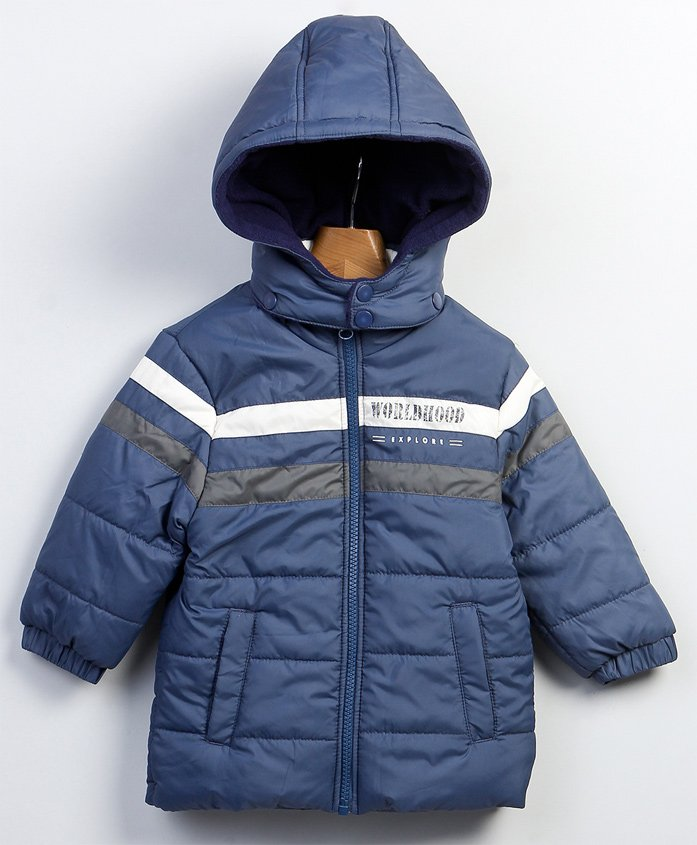 Beebay Full Sleeves Dual Striped Hooded Jacket - Navy Blue