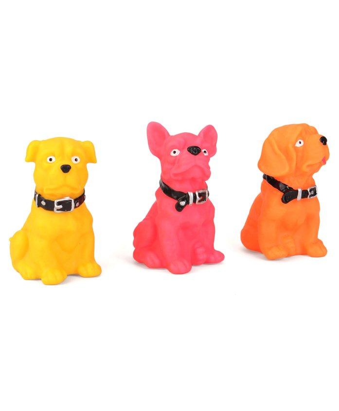 Speedage Doggy Set Squeezy Toys Set of 3 - Yellow Pink Orange