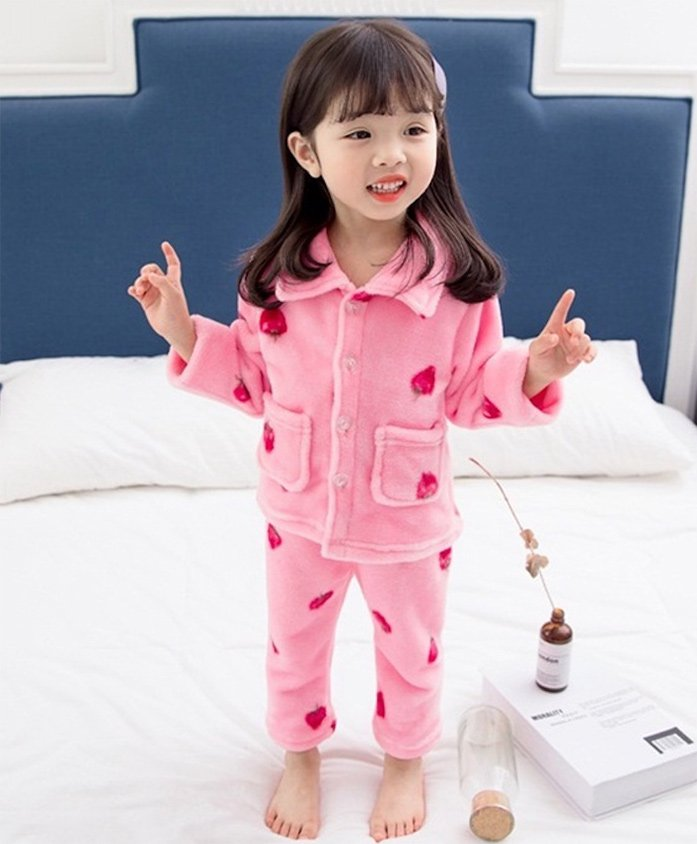 Pre Order- Awabox Full Sleeves Strawberry Design Night Suit - Pink
