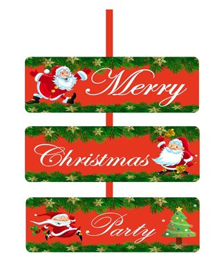 Party Propz Merry Christmas Party Door Board - Red & Green