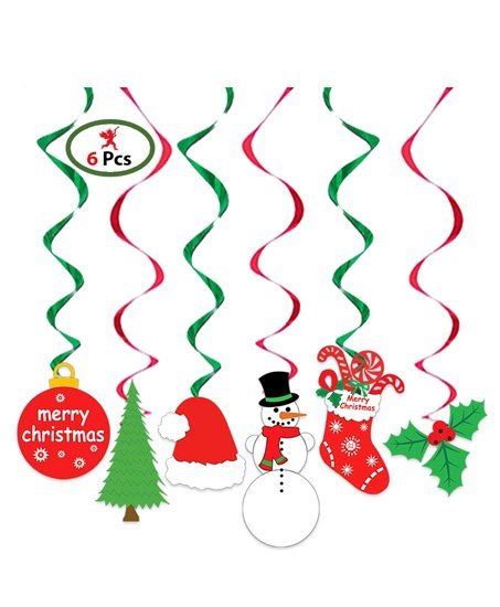 Party Propz Christmas Swirls Hanging Multicolor - Set of 6