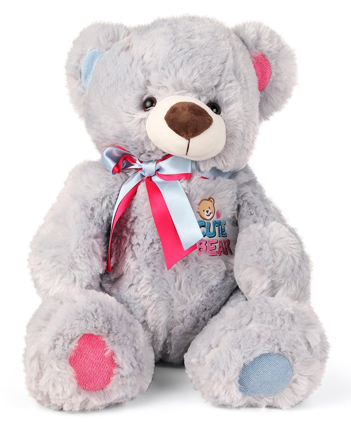 My Baby Excels Teddy Bear With Bowtie Plush Soft Toy Grey - Height 40 cm