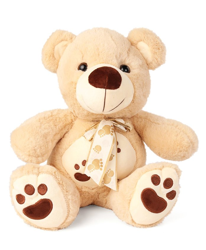 My Baby Excels Teddy Bear With Bowtie Plush Soft Toy Light Brown - Height 35 cm