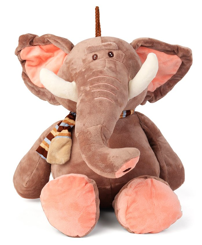 My Baby Excels Plush Elephant With Scarf Soft Toy Brown - Height 33 cm