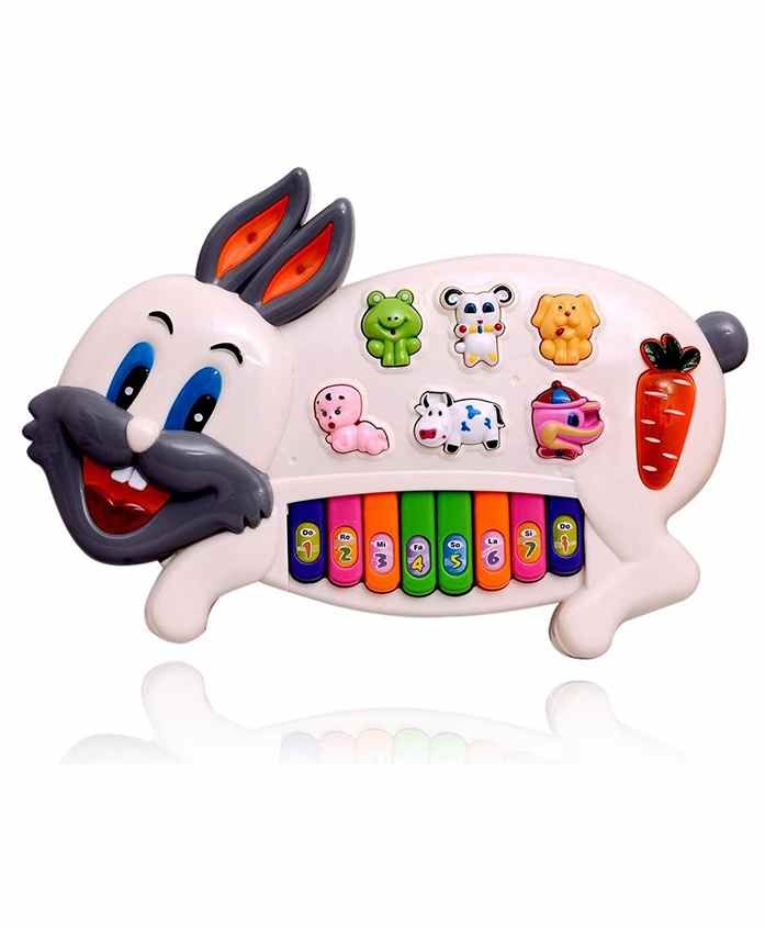 Planet of Toys Bunny Shaped Musical Piano - White