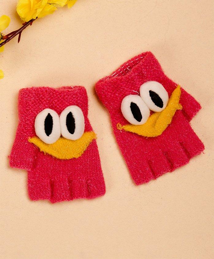 Unicorns Eye Design Gloves - Dark Pink