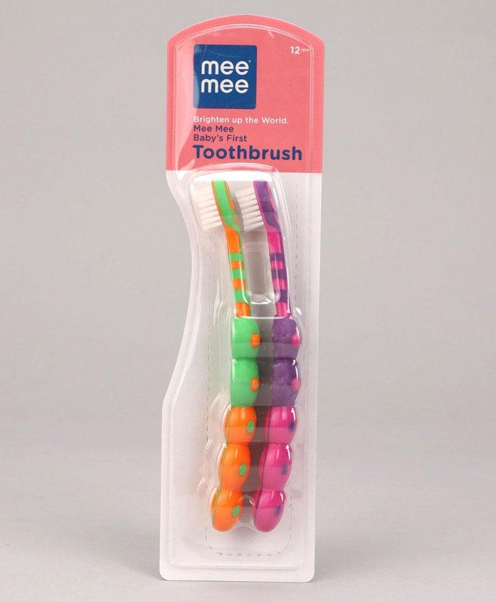 Mee Mee Babys First Toothbrush Orange Pink - Pack of 2