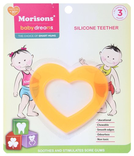 Morisons Baby Dreams - Heart Shaped Silicone Teether Yellow