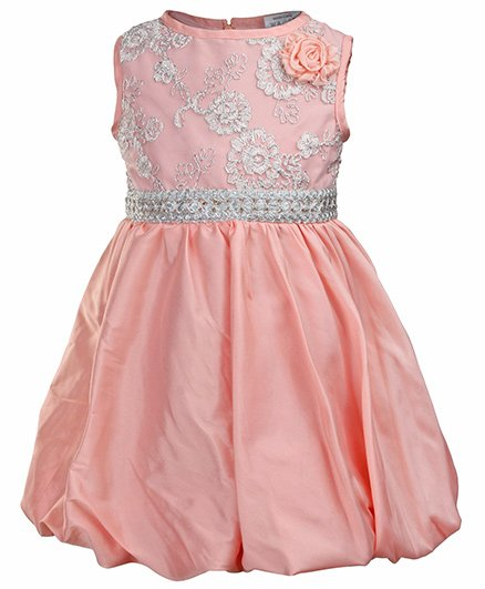 SAPS - Sleeveless Lace Balloon Peach Party Dress