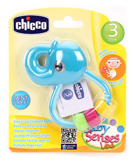 Chicco Easy Grasp Elephant Rattle - 3 Months Plus