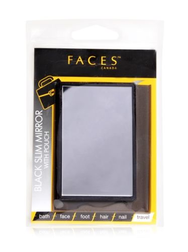 Faces Black Slim Mirror With Pouch