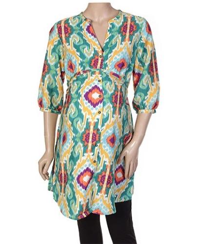 W Cult Sleeves Round Neck Kurta Style Tunic Top
