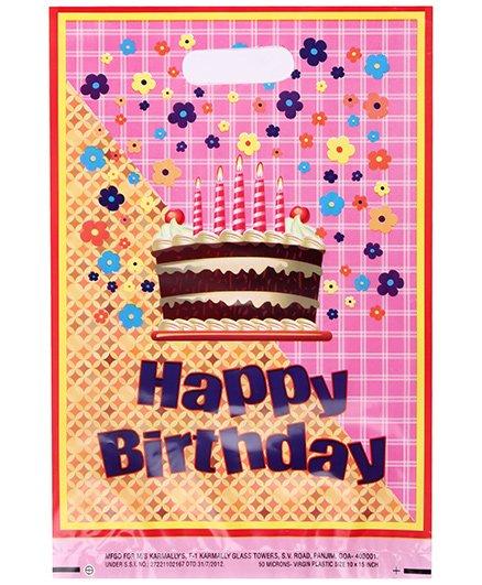 Karmallys Printed Plastic Bag With Happy Birthday Cake And Flower Print