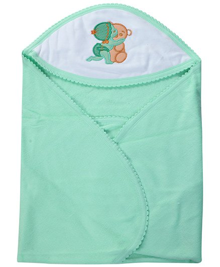 Tinycare Hooded Towel Super Baby Print - Light Green