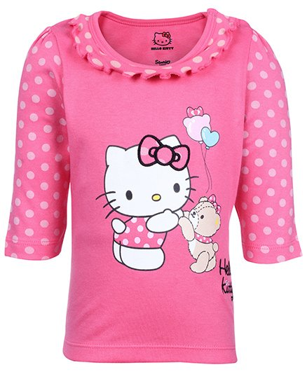 Hello Kitty Full Sleeves Pink Top - Ruffled Neck