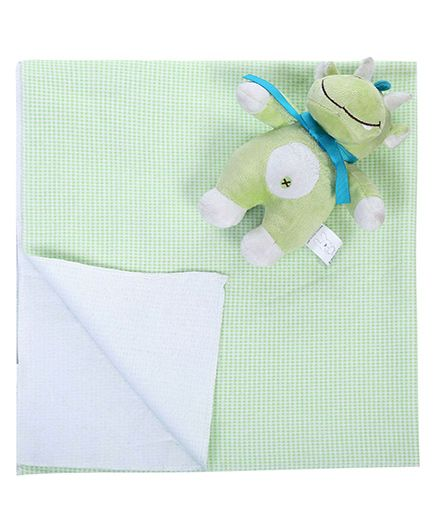 Honey Bunny Cotton Flannel Receiving Blankets with Cat SoftToy
