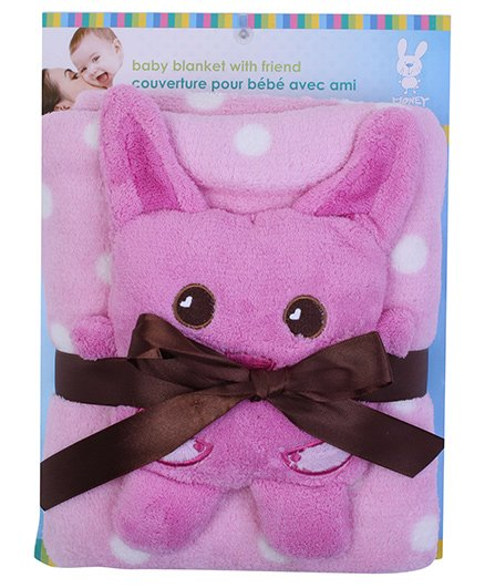 Honey Bunny Coral Blanket with Soft Toy Pink