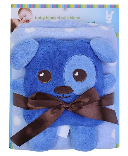 Honey Bunny Coral Blanket with Soft Toy Blue