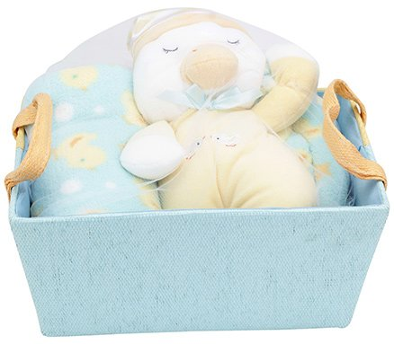 Piccolo Bambino Sleepy Duckie Gift Basket with Coral Blanket Blue