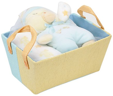 Piccolo Bambino Sleepy Duckie Gift Basket with Coral Blanket Yellow