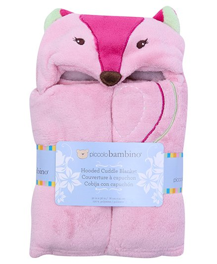 Piccolo Bambino Fun Hooded Cuddle Pink Blanket - Fox Toy