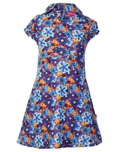 Dreamszone Short Sleeves Blue A Line Frock - Floral Print