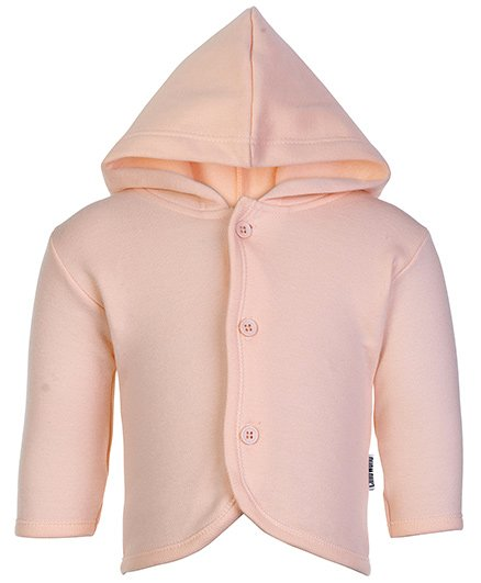 Child World Peach Full Sleeves Hooded Vest