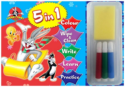 Sterling Looney Tunes 5 In 1 Wipe And Clean Coloring Book
