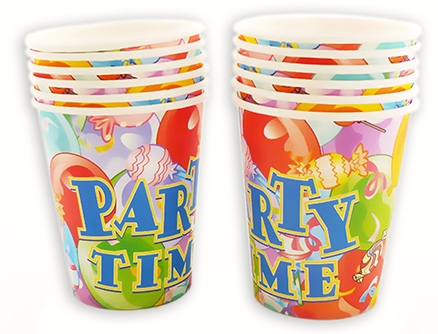 Party Anthem Multi Coloured Party Theme Paper Cups - 266 ml