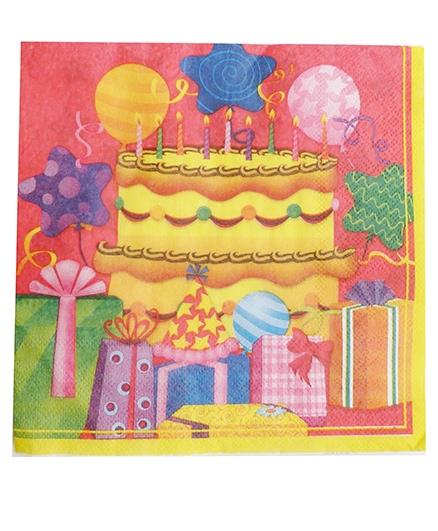 Party Anthem Birthday Cake Print Paper Napkin - Pack Of 20
