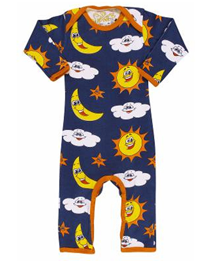 Earth Conscious Navy Blue Full Sleeves Printed Romper