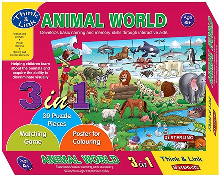 Sterling 3 In 1 Animal World Puzzles