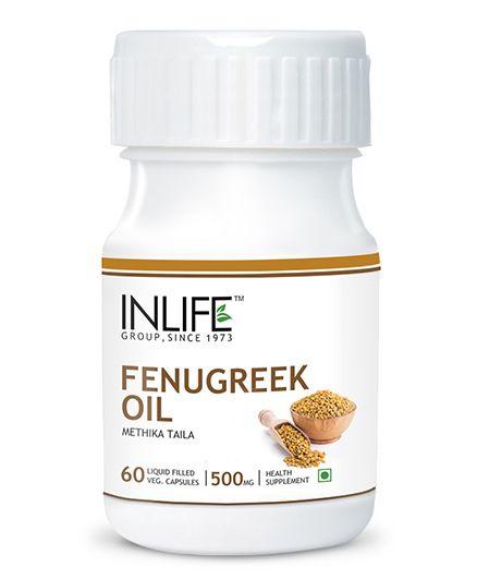 Inlife Fenugreek Oil Liquid Filled Capsules 60 Pieces - 500 Mg