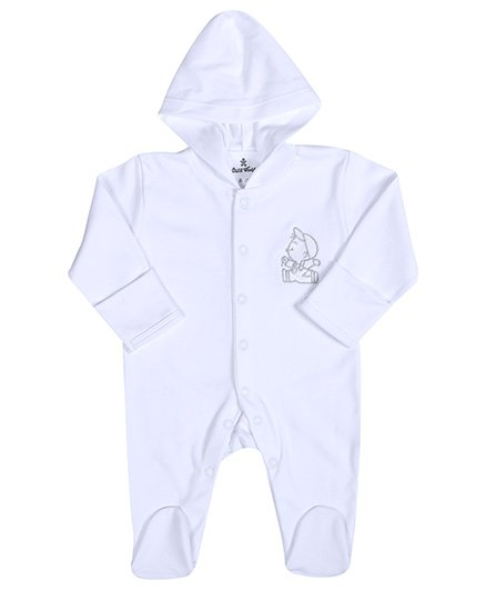 Child World White Full Sleeves Footed Hooded Romper