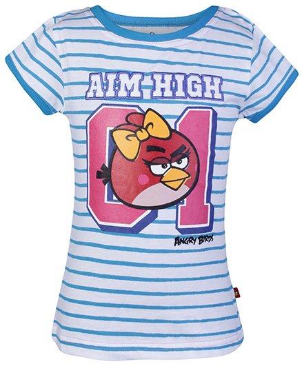 Angry Birds Blue Half Sleeves Stripes Print T Shirt